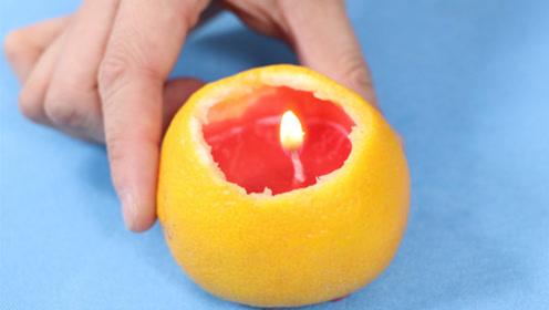 姑娘手把手教你做橘子灯,一看就能学会,比蜡烛好看十几倍