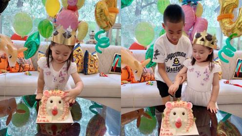 赵文卓为三岁女儿庆生,儿子女儿五官酷似爸爸,豪宅好像儿童乐园