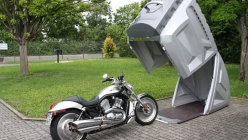 汽车装行李箱直接拖走?老外打造摩托车车库,再也不怕被偷了!