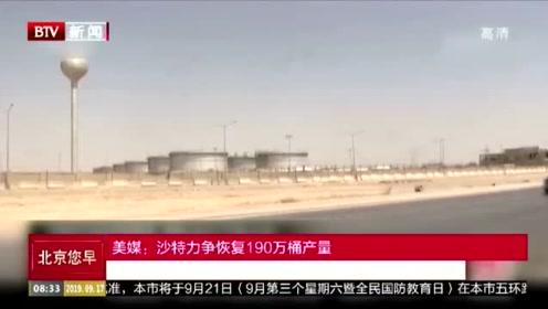 美媒:沙特力争恢复190万桶产量