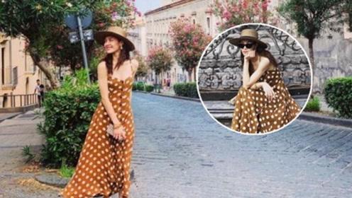 钟楚曦解锁度假新穿搭 花样长裙现复古时髦风,热辣短裙抢镜了