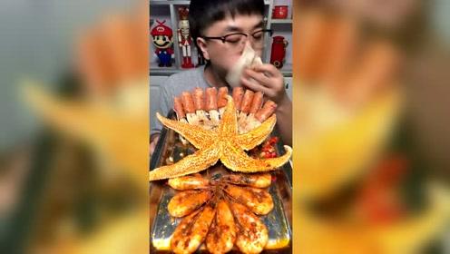 大哥吃海鲜大拼盘,57秒吃完