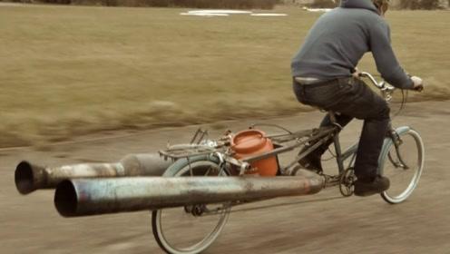 """小伙子""""开挂式发明"""",自行车改装发射器!速度把汽车司机吓傻了"""