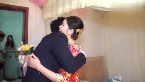 接亲现场,让新郎亲一下美丽的新娘,新郎亲的太可爱了!