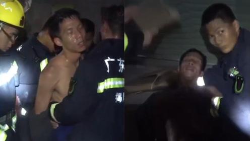 心疼!消防员火灾现场救出5人后被热晕 躺在地上队友扇风降温