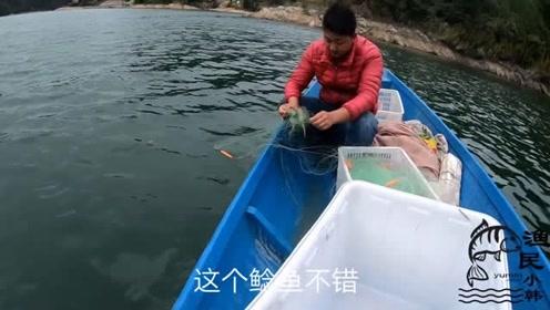 冒着大风到大河下4条浮网,早上收网冷得打哆嗦,看看收获那些鱼