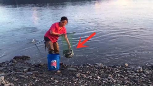 小河开闸后,女子发现水下的鱼窝,一网下去惊喜来了!