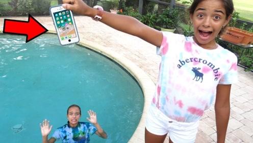 妹妹太奇葩!将姐姐的iPhone扔进泳池,下一秒场面太激烈!