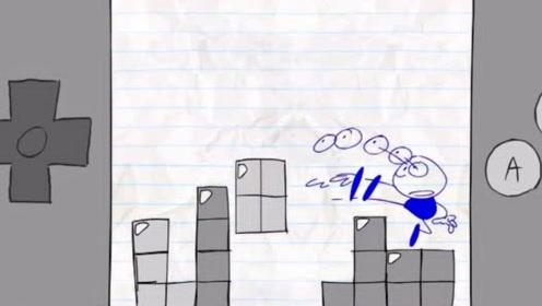 铅笔人拿游戏机玩游戏,离奇被困在游戏机中,还差点被怪物吃掉