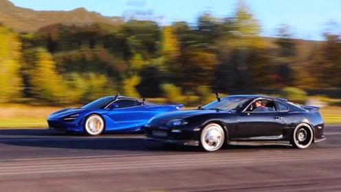 当1000匹丰田牛魔王被迈凯伦超车后,瞬间开启战斗模式!