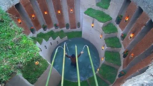 买不起豪宅就自己挖?看越南小哥如何用镰刀,挖出泳池豪宅!