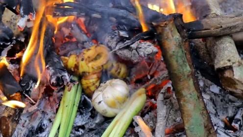 野外美食如何制作?一口铁锅一块牛尾,牛尾也能很美味