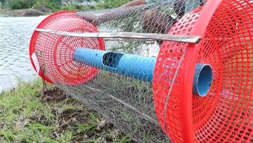 两个塑料筐,一根塑料管,挂上两块生肉,贪吃的鱼全都被擒!