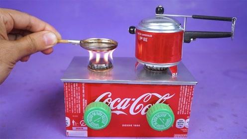 牛人用易拉罐制作迷你小火炉,还能调节火焰大小,这创意不得不服