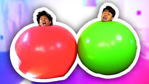 小哥自制碰撞游戏,用大气球就能搞定,一玩一整天都不腻