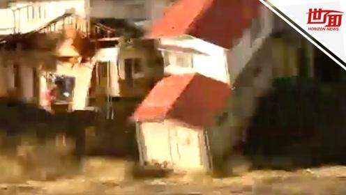 """台风""""海贝思""""过境处变汪洋大海 民宅被吞没瞬间成碎片"""