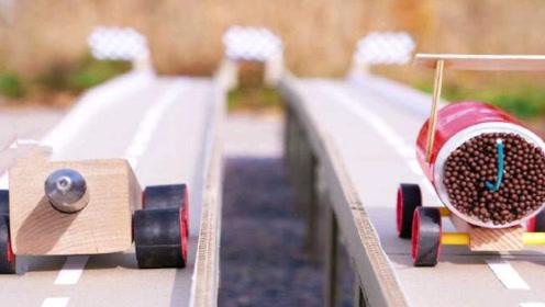 老外趣味实验:火柴赛车遇上氮气赛车谁速度会更快?一起来看下