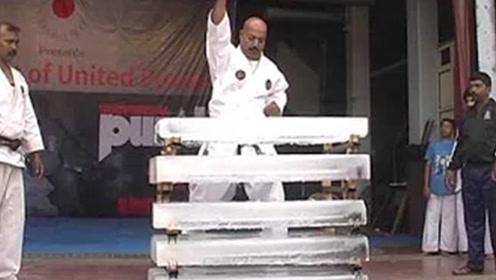 印度空手道大师,徒手劈断五块冰砖,日本人不服结果打脸了