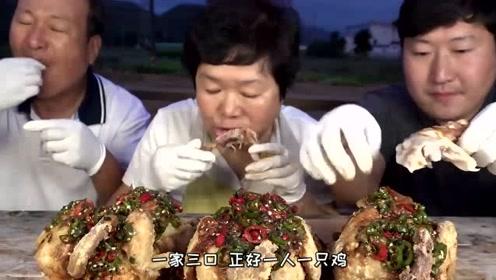 韩国农村吃播:今天妈妈教大家做传统炸鸡!父母还没怎么吃胖儿子就吃完了!