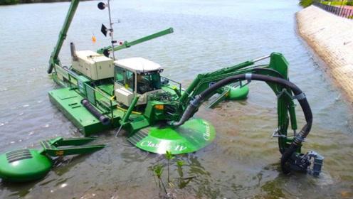 国外最先进的两栖机械船,挖泥打桩一船搞定