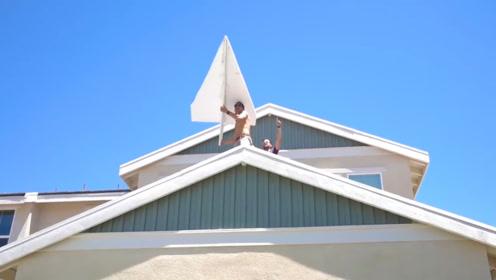看谁飞的远,奇葩的纸飞机比赛,就是这纸飞机一个比一个奇葩