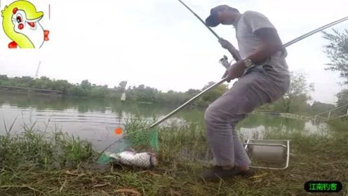 河边钓竿撒下已久看着浮漂突然拉下水,男子拉钓折腾许久收获一条四斤大鱼