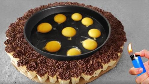 老外用10000根火柴煎鸡蛋,结果能熟吗?看完你都不敢信!