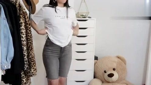素人女孩如何改造?白色T恤搭配灰色牛仔短裤,时尚有活力