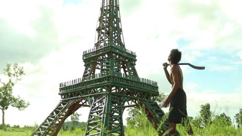 """农村小伙没钱去巴黎,在家自建""""埃菲尔铁塔"""",走近一瞧太震撼"""