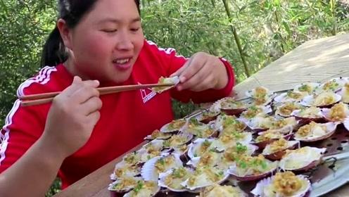 胖妹姐开吃五六斤粉丝扇贝,这蒜蓉酱可谓是点睛之笔
