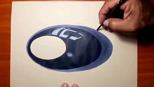 连反光效果都画出来的黑色桌球,这功底我给满分!