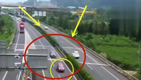 震惊!一女司机在高速上停留30分钟,下一幕真不怕死!