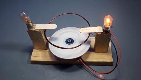 农民在家制作发电小机器,可以持久发电,点亮小灯泡不是问题