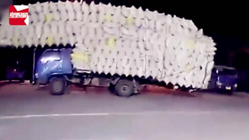 无锡一农用车超载1147%!1.495吨货物上路摇摇晃晃:看着吓人