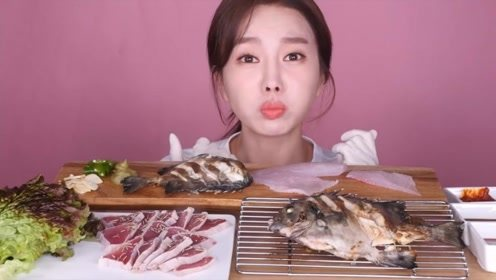 美女食用美味石鲷鱼,三条鱼全部下肚