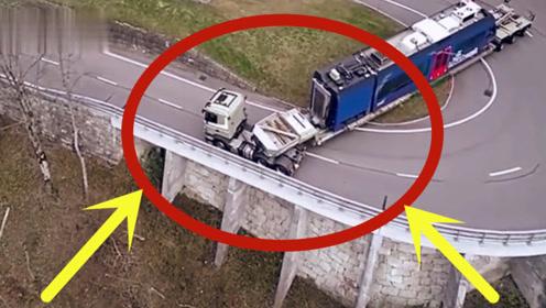 超长货车完美转弯,长度超乎想象,这才是真正的老司机!