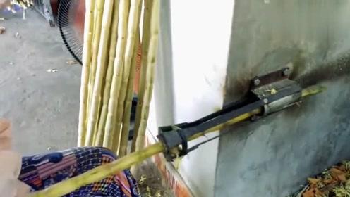 越南兄弟真聪明,制作出这么好用的甘蔗削皮工具,让人佩服
