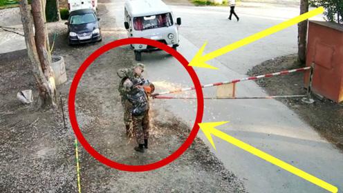 面包车司机不能惹,路遇栏杆拦路霸气拿出切割机,监控拍下全过程!
