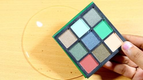 荧光绿史莱姆教程,解压透泰+彩色粉末+口红,效果超级棒!