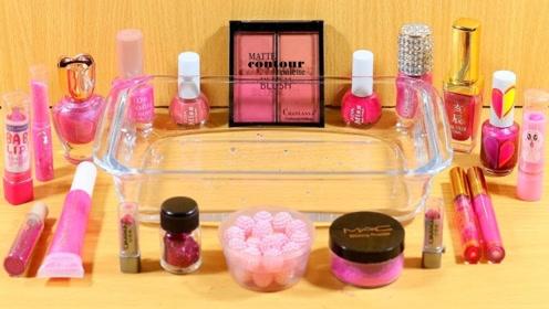 粉色史莱姆教程,解压透泰+唇彩+指甲油+口红+大盒眼影,效果超级棒!