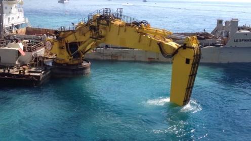 """""""海底工作""""挖掘机你见过吗?造价1.2亿美金,新型科技发明"""