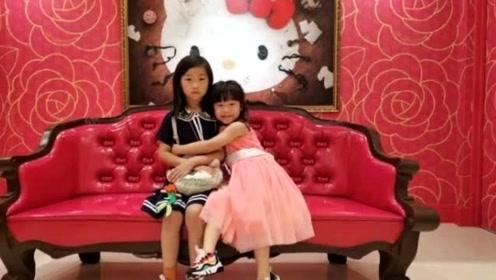 岳云鹏两女儿感情超好!妹妹拍照都要双手抱着姐姐,画面温馨!