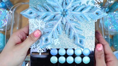 淡蓝色无硼砂史莱姆教程,雪花水晶泥+亮晶晶果冻泥,好玩解压超治愈呢