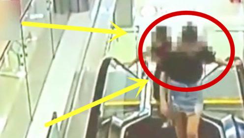 女大学生将扶梯当跑步机,作死跑步,祸从天降悲剧了!