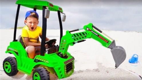 熊孩子太不让人省心,竟开着挖掘机把爸爸埋了起来,不怕挨打吗!