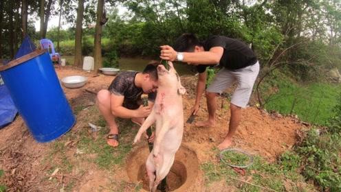 小伙买了头30斤的小猪,放进坑里烤了1个小时,看到成品太浪费了
