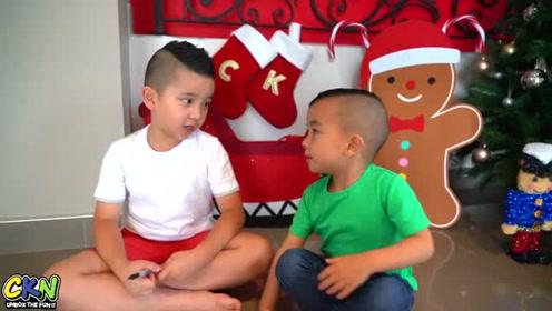 卡尔文和凯森在一起过十岁的圣诞节