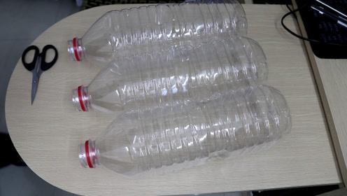 3个塑料瓶做一个6格的收纳筒,简单又实用,真方便了