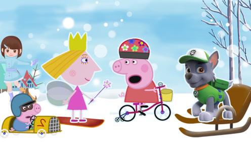 汪汪队建起滑雪场 佩奇乔治体验狗拉雪橇 举行滑雪比赛 玩具故事