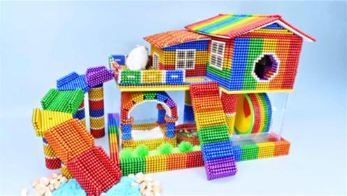 创意巴克球,如何用彩色巴克球为小白鼠建造彩虹阁楼?
